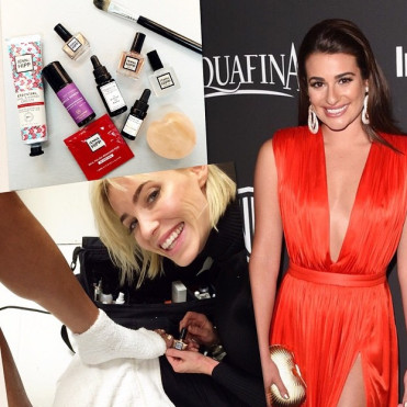 Using Muscle Remedy to add the healing element to her styliing of Leah's nails for the Golden Globes