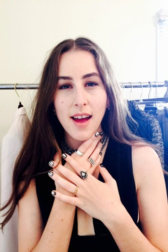 Baby Haim of the Haim Sisters Band shows off her nails for the Grammy's 2015